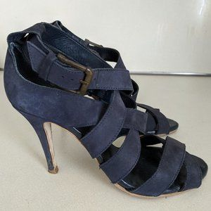 Zara Faux Suede Strappy Heel, size 38